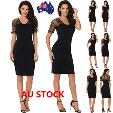 Women Lace Mesh Backless Short Sleeve Bodycon Dress Evening Party Mini Dress