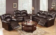 3 Set Sofa Loveseat Chaise Couch Recliner Leather Chocolate Brown