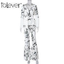 Fashion Ink Print 2 Piece Flared Suit Sets Women V Neck Jumpsuits Rompers New