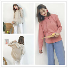 Women's Loose Solid 1/2 Button Long Sleeve Hoodie Pullover Jumper Sweats Tops