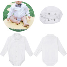 Boys Dress Shirt Cholthes Baby Party Wedding Birthday Romper Outfits Bodysuit
