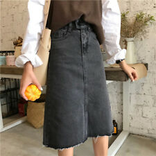 Women Denim Casual Solid Washed A-Line Slim Fit Fringe Hem Knee Length Skirt