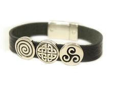 New Irish Leather Bracelet Celtic Charms Made in Ireland Lee River Leather