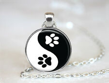 Yin Yang Dog Paw Changeable Magnetic Pendant Necklace w/Organza Bag