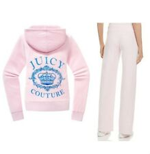 Juicy Couture Velour Jacket Crown Original Tracksuit Pink Hoodie Pants L Large