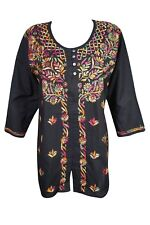 BOHEMIAN WOMEN ETHNIC TUNIC BLOUSE BEAUTIFUL FLORAL EMBROIDERED KURTA TOP
