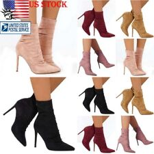 Womens Block High Heel Pointed Toe Boot Suede Pull On Ankle Stiletto Boots Shoes
