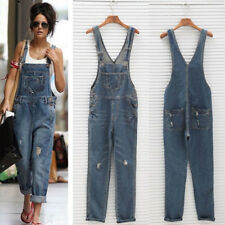 Women Denim Ripped Distressed Slim Fit Adjustable Strap Overall Long Jumpsuits