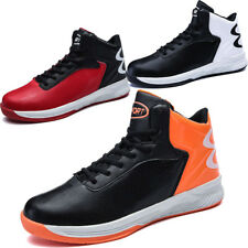 Men PU Leather Mesh Casual High Top Sport Sneakers Athletic Lace Up Running Shoe