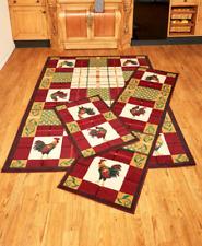 Rooster Kitchen Decor Living Room Area Rug Runners Country Home Accent Red