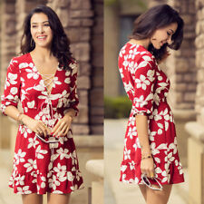 Talever Draw String Women Floral Print Dresses Sexy V Neck Elastic Waist Dress