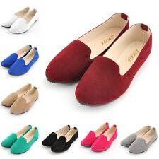 Women Flat Slip-On Boat Shoes Casual Ballet Work OL Faux Suede Loafers Shoes