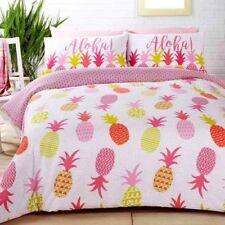 TROPICAL PINEAPPLES DUVET COVER SET BEDDING PINK REVERSIBLE - SINGLE & DOUBLE