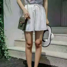 Women Solid Ruched Elastic Drawstring Waist Shift Pleated Stretched Shorts Pants