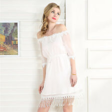Talever Sexy Off Shoulder Mini Tunic Dress Women Solid White Tassel Party Dress
