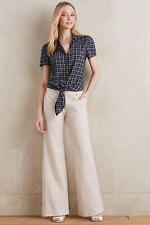 ANTHROPOLOGIE PILCRO LINEN TROUSERS Neutral Size 0 NWT