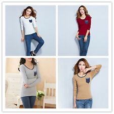 Women's Round Neck Long Sleeve Slim Fit Stretchy Bottomning Shirt Top Blouse
