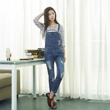 Women Washed Bib Overall Ripped Distressed Skinny Denim Jeans Rompers Jumpsuits