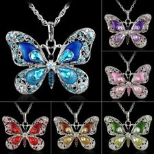 Animal Butterfly Crystal Pendant Necklace Long Sweater Chain Women Fashion Gift