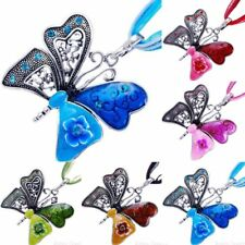 Vintage Silver Plated Animal Butterfly Crystal Pendant Women Long Chain Necklace