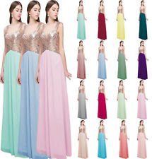 Formal Long Sequin Chiffon Evening Party Ball Gown Prom Sparkly Bridesmaid Dress