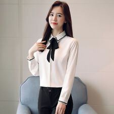 Women's Lapel Bowknot Neck Long Sleeve Button Down OL Chiffon Shirt Top Blouse