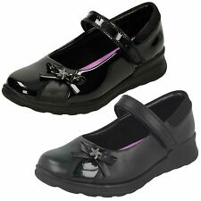 Girls Clarks Mariel Wish JNR Black Leather Or Patent School Shoes