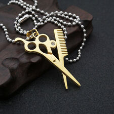 Womens Fashion Hairdresser Scissors Comb Hair Stylist Pendant Chain Necklace