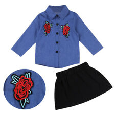 Kids Baby Girls Spring Clothes Outfit Denim Shirt Tops+Tutu Skirt Dress 2Pcs Set