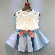2PC Toddler Kids Baby Girls Outfit Clothes Vest T-shirt+Bowknot Short Skirt Suit