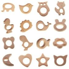 Unfinished Natural Wood Animal Shape Pendant Baby Teether Teething Ring Toy DIY