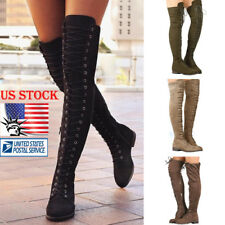 Womens Thigh High Over Knee Booties Long Lace Up Stretchy Slim Boots Shoes Size
