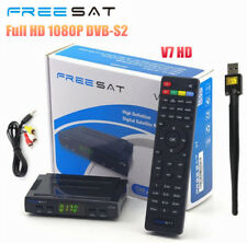 FREESAT V7 1080P DVB-S2 Satellite TV Receiver Support PowerVu,Biss key+ AV Cable