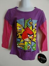 Girl's Purple Angry Birds Cotton Long Sleeve T-Shirt Size 4 & 6 New with tags
