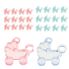 24 Mini Plastic Prams Charms Tags Baby Shower Girl Boy Party Favors Decor