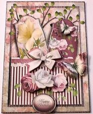 Handmade Greeting Card 3D All Occasion Vintage Style With Roses & Butterflies