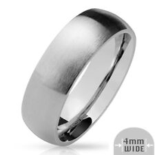 316L Stainless Steel 4mm Matte Finish Comfort Fit Wedding Band Ring, Sizes 5-13