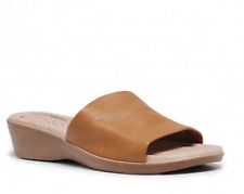 """HUSH PUPPIES SHOES LADIES SLIDES CASUAL FORMAL LEATHER SHOES""""COCO""""CARAMEL"""