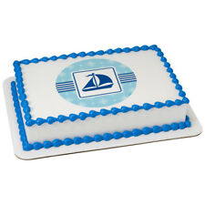 Nautical Sailboat Edible Cake OR Cupcake Toppers Decoration