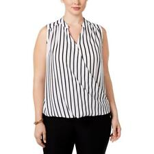 INC 6990 Womens Striped Surplice Sleeveless Casual Top Blouse Plus BHFO
