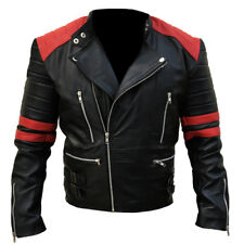 Mens Motorcycle Classic Brando Zipper Double Breasted Biker Black Leather Jacket