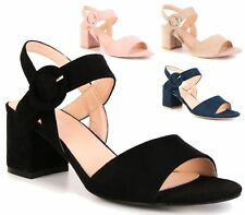 WOMENS MID BLOCK HEEL PEEP TOE SANDAL PARTY CASUAL BUCKLE ANKLE STRAP SHOES 3-8