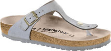 Birkenstock Gizeh Leather Washed Metallic Leather Women footbed Slides slippers