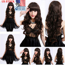 Womens Natural Hair Wig Long Wavy Curly Hair Bang Cosplay Anime Full Wig Wigs US