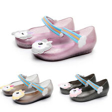 Kids Girl Unicorn Flat Strappy Jelly Shoes Summer Beach Princess Slip On Sandals