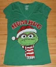 "New Sesame Street Juniors Oscar The Grouch ""Humbug"" Christmas Green T-Shirt S M"
