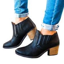 Hot selling 2018 Womens Low Mid Block Heels Ankle Boots Vintage PU Leather Shoes