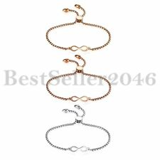Polish Stainless Steel Charm Love Infinity Bracelet Freely Adjustable Chain Gift