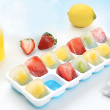 Silicone Ice Cube Tray Ices Jelly Maker Mold Trays + PP Lids Non-toxic And Safe