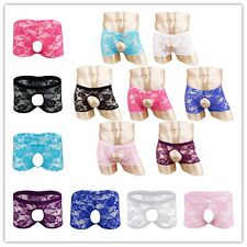 Men's Lace Underwear Open Butt Boxer Briefs Shorts Sissy Pouch Panties Bikini